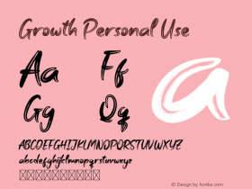 Growth Personal Use Version 1.001;Fontself Maker 3.5.1 Font Sample