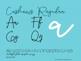 Cashews Version 1.009;Fontself Maker 3.5.1 Font Sample