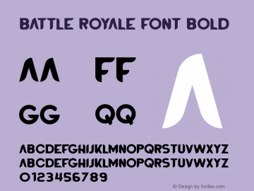 BATTLEROYALEFONT-Bold Version 1.00;August 25, 2020;FontCreator 12.0.0.2525 64-bit图片样张