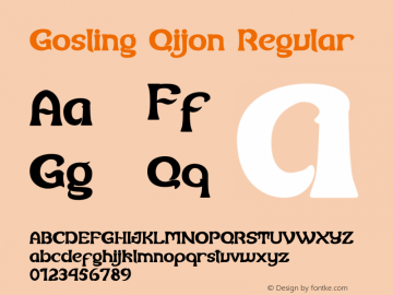 Gosling Qijon Version 1.00;August 26, 2020;FontCreator 11.0.0.2408 32-bit图片样张