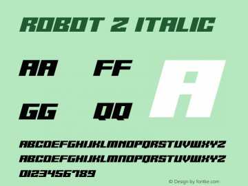 Robot Z Italic Version 1.10;October 14, 2020;FontCreator 12.0.0.2567 64-bit图片样张