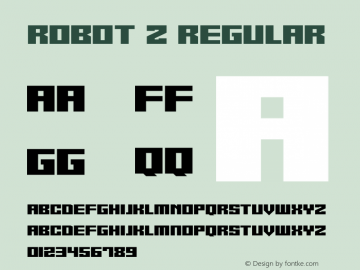 Robot Z Version 1.10;October 14, 2020;FontCreator 12.0.0.2567 64-bit图片样张