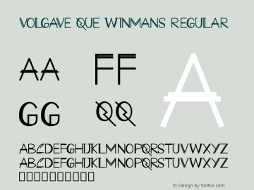 VOLGAVE QUE WINMANS Version 1.001;Fontself Maker 3.5.1图片样张