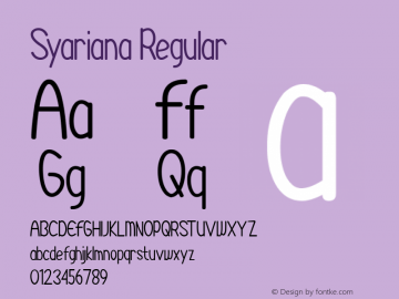 Syariana Version 1.00;August 26, 2020;FontCreator 12.0.0.2525 64-bit图片样张