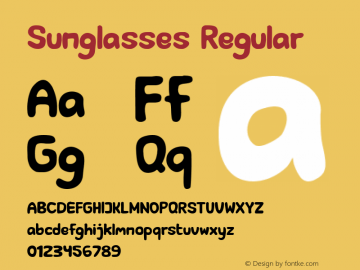 Sunglasses Version 1.00;August 26, 2020;FontCreator 13.0.0.2670 32-bit图片样张