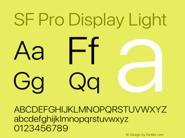 SF Pro Display Light Version 16.0d12e3图片样张