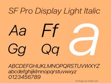SF Pro Display Light Italic Version 16.0d12e3图片样张