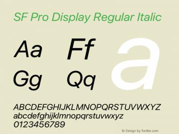 SF Pro Display Regular Italic Version 16.0d12e3图片样张