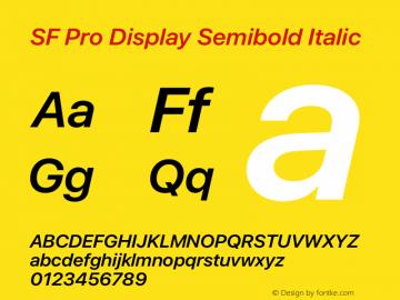SF Pro Display Semibold Italic Version 16.0d12e3图片样张