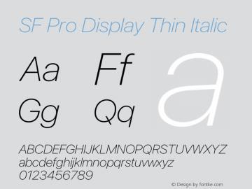 SF Pro Display Thin Italic Version 16.0d12e3图片样张