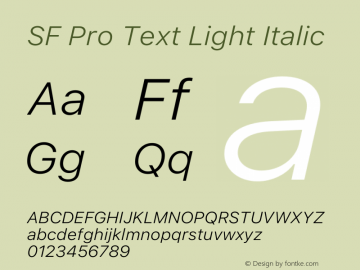 SF Pro Text Light Italic Version 16.0d12e3图片样张