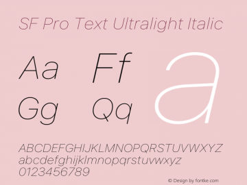 SF Pro Text Ultralight Italic Version 16.0d12e3图片样张