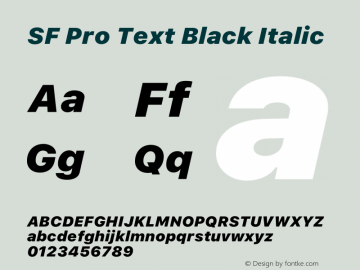 SF Pro Text Black Italic Version 16.0d12e3图片样张