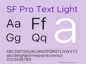 SF Pro Text Light Version 16.0d12e3图片样张