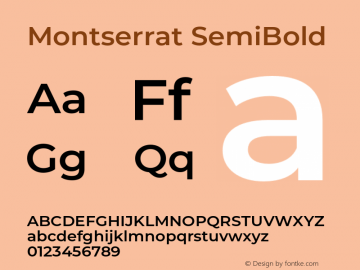 Montserrat SemiBold Version 7.200;PS 007.200;hotconv 1.0.88;makeotf.lib2.5.64775图片样张