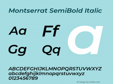 Montserrat SemiBold Italic Version 7.200;PS 007.200;hotconv 1.0.88;makeotf.lib2.5.64775图片样张