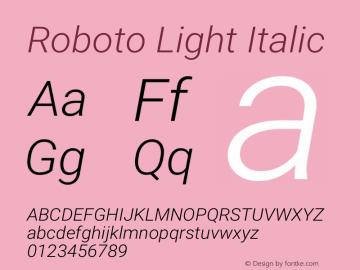 Roboto Light Italic Version 2.001151; 2014图片样张
