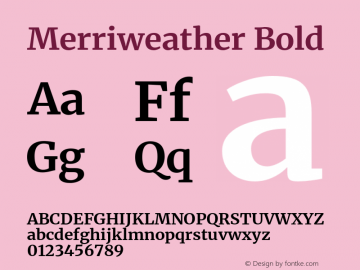 Merriweather Bold Version 2.100;hotconv 1.0.109;makeotfexe 2.5.65596图片样张