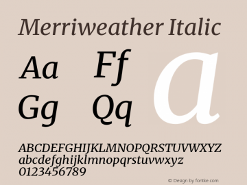 Merriweather Italic Version 2.100;hotconv 1.0.109;makeotfexe 2.5.65596图片样张