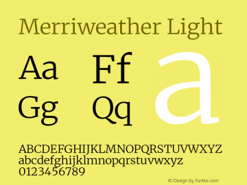 Merriweather Light Version 2.100;hotconv 1.0.109;makeotfexe 2.5.65596图片样张