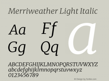 Merriweather Light Italic Version 2.100;hotconv 1.0.109;makeotfexe 2.5.65596图片样张