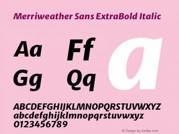 Merriweather Sans ExtraBold Italic Version 2.001 Font Sample
