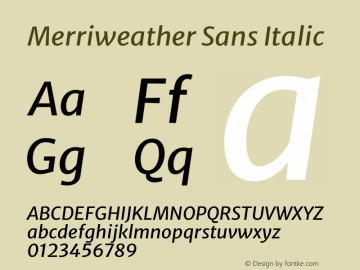 Merriweather Sans Italic Version 2.001 Font Sample