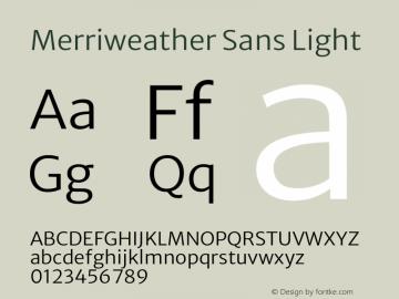 Merriweather Sans Light Version 2.001 Font Sample