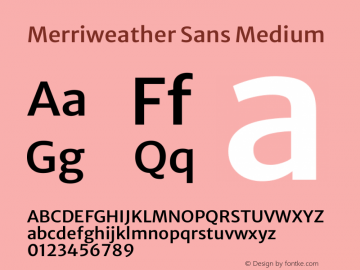 Merriweather Sans Medium Version 2.001 Font Sample