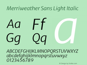 Merriweather Sans Light Italic Version 2.001图片样张