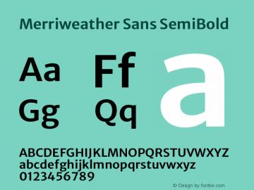 Merriweather Sans SemiBold Version 2.001 Font Sample