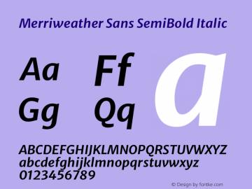 Merriweather Sans SemiBold Italic Version 2.001 Font Sample