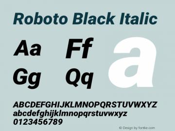 Roboto-BlackItalic Version 2.001047; 2015图片样张