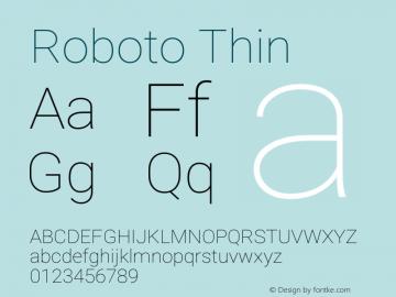Roboto-Thin Version 2.001047; 2015图片样张