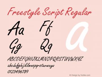 Freestyle Script Regular Unknown Font Sample