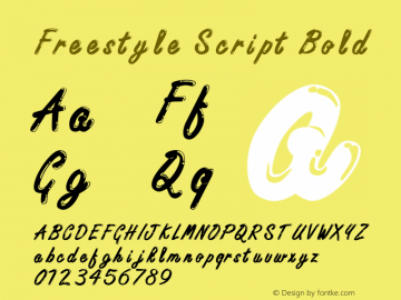 Freestyle Script Bold Unknown Font Sample