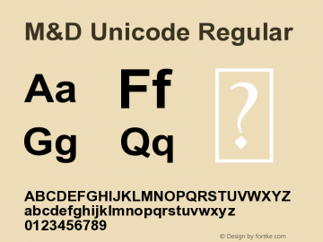 M&D Unicode Version 1.00;November 15, 2020;FontCreator 11.5.0.2430 32-bit图片样张