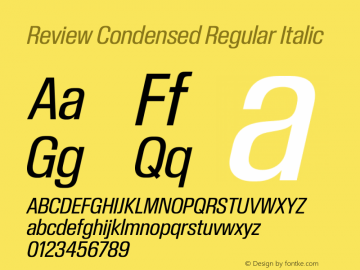 ReviewCondensed-RegularItalic Version 1.001 2020 | wf-rip DC20201005图片样张