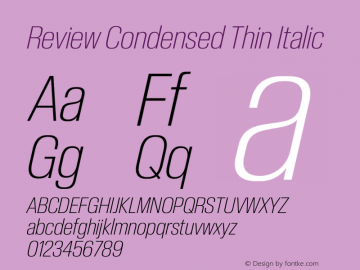 ReviewCondensed-ThinItalic Version 1.001 2020 | wf-rip DC20201005图片样张