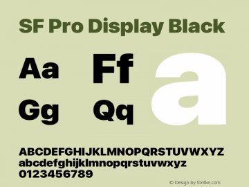 SF Pro Display Black Version 16.0d18e1图片样张