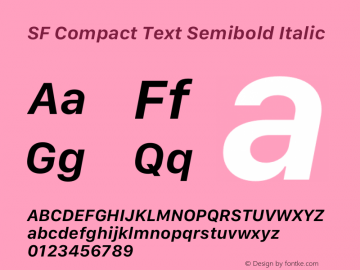 SF Compact Text Semibold Italic Version 16.0d18e1图片样张