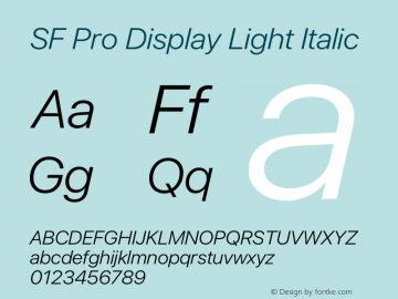 SF Pro Display Light Italic Version 16.0d18e1图片样张