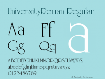 UniversityRoman Regular Altsys Metamorphosis:5/4/93 Font Sample