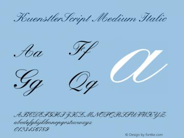 KuenstlerScript Medium Italic Converter: Windows Type 1 Installer V1.0d.