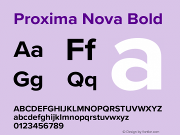 Proxima Nova Bold Version 3.018;PS 003.018;hotconv 1.0.88;makeotf.lib2.5.64775图片样张
