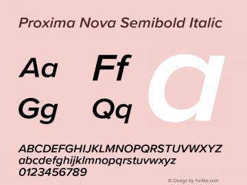 Proxima Nova Semibold It Version 3.018;PS 003.018;hotconv 1.0.88;makeotf.lib2.5.64775图片样张