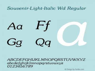 Souvenir-Light-Italic Wd Regular Unknown Font Sample