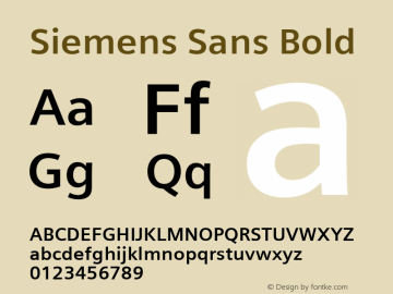 Siemens Sans Bold Version 3.00 Font Sample