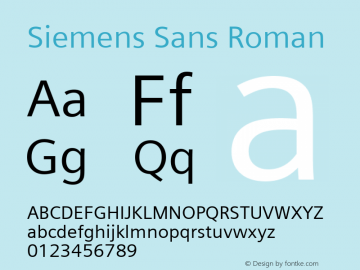 Siemens Sans Roman Version 3.00 Font Sample