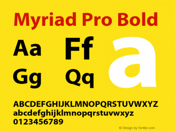 Myriad Pro Bold Version 2.062;PS 2.000;hotconv 1.0.57;makeotf.lib2.0.21895图片样张